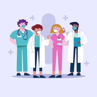 Médicos e enfermeiras planos orgânicos