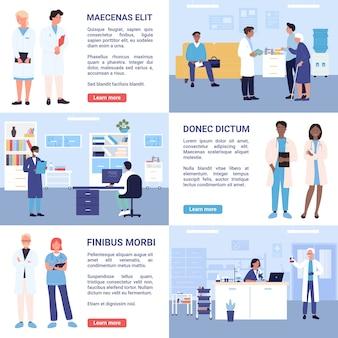 Médicos e enfermeiras trabalham em departamentos hospitalares
