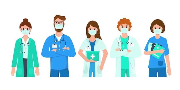 Médicos e enfermeiras usando máscaras médicas.