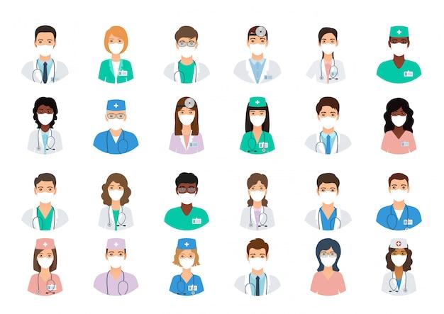 Médicos e enfermeiros avatares em máscaras médicas.