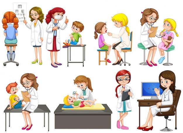 Médicos e paciente na ilustração da clínica