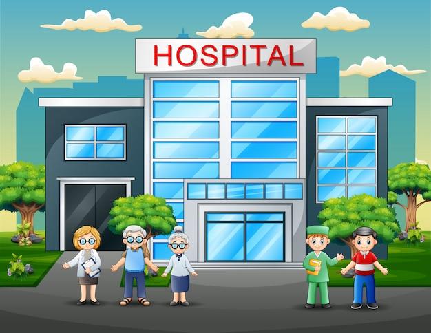 Médicos e pacientes de desenhos animados em frente ao hospital