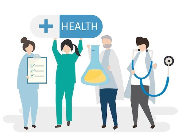 Médicos, e, saúde, ilustração