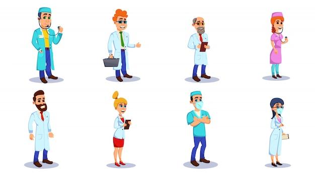 Médicos e trabalhadores de hospital com equipamento liso.