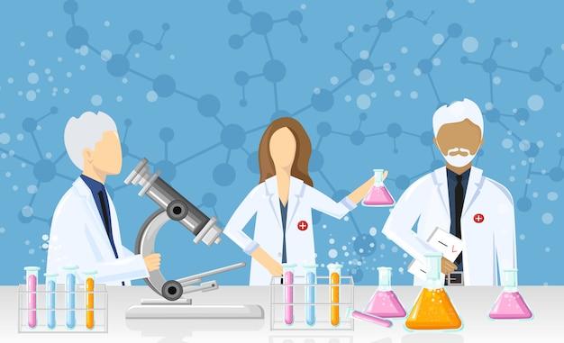 Médicos, em, um, laboratório, desenho