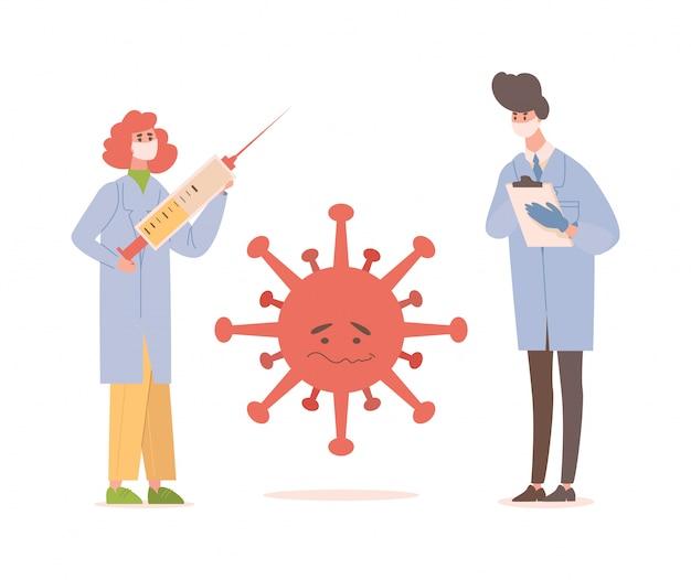 Médicos em uniforme médico e máscaras protetoras desenvolvem vacina contra ilustração plana de coronavírus.