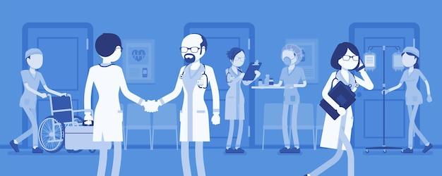 Médicos, enfermeiras trabalhando em um hospital. dia agitado no departamento de clínica, funcionários e pacientes recebendo tratamento médico profissional, rotina de instituição de saúde. ilustração vetorial, personagens sem rosto