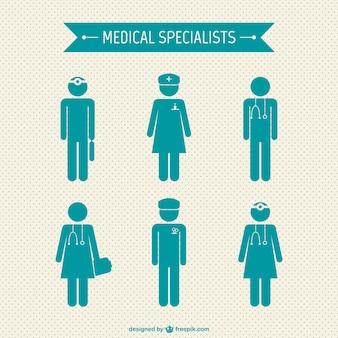 Médicos especialistas silhuetas