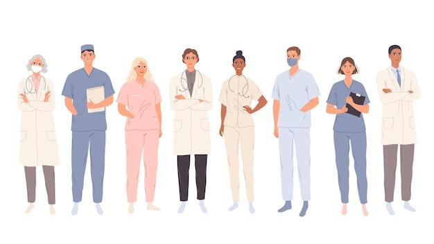 Médicos estudantes de medicina, trabalhadores médicos e enfermeiras representantes de diferentes especialidades médicas