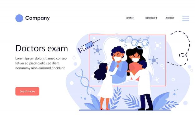 Médicos examinando informações de quarentena. modelo de site ou página de destino