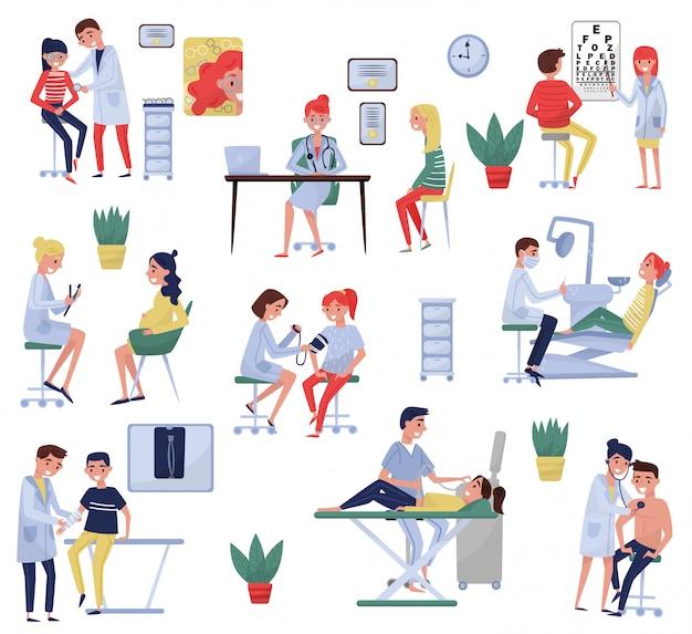 Médicos examinando pacientes no conjunto da clínica, oculista, terapeuta, ginecologista, taumatologista, dentista, oftalmologista, tratamento médico e conceito de saúde ilustrações