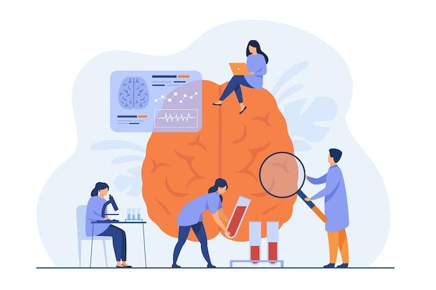 Médicos fazendo pesquisas médicas em cérebro humano e testando amostras de sangue.