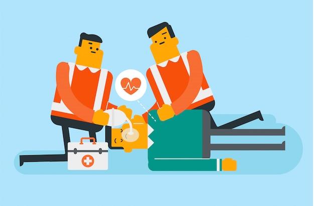 Médicos fazendo ressuscitação cardiopulmonar.