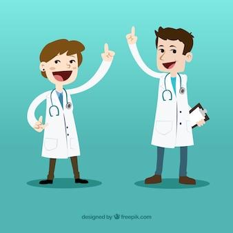 Médicos felizes dos desenhos animados