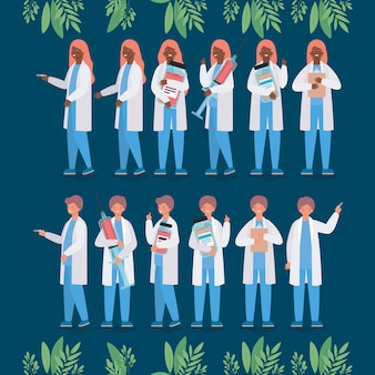 Médicos femininos e masculinos com injeções e frascos para medicamentos
