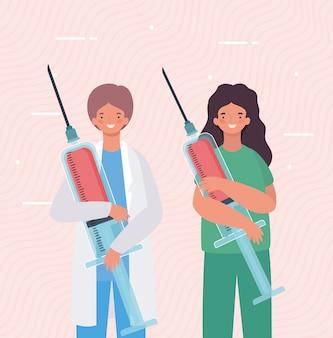 Médicos femininos e masculinos com injeções