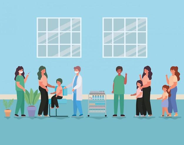 Médicos femininos e masculinos, vacinação de crianças e mães design de ilustração de tema de cuidados médicos saúde e emergência