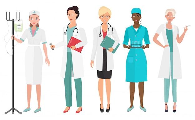 Médicos femininos em poses diferentes