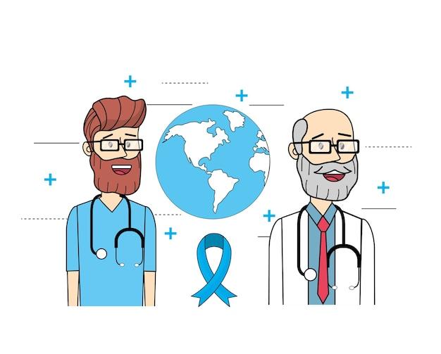 Médicos globais com estetoscópio para mens saúde