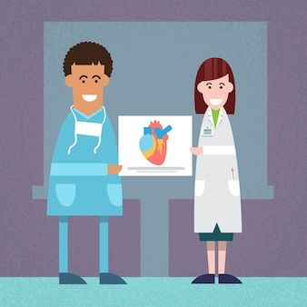 Médicos homem mulher no laboratório espera coração análise