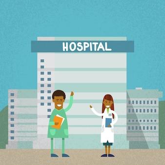 Médicos, hospitalar, edifício hospitalar, apartamento