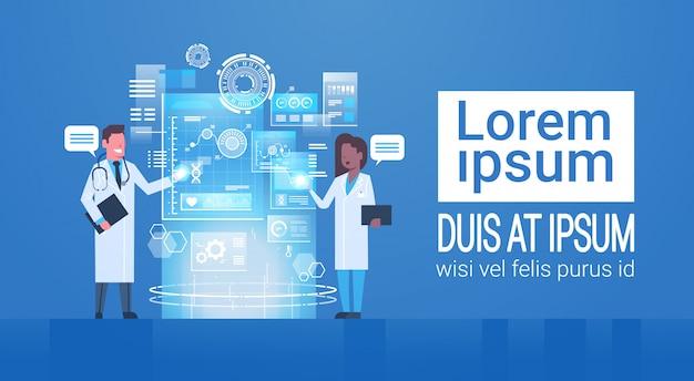 Médicos, imprensa, botões, ícone, ligado, virtual, tela inovação, tecnologia, conceito, modernos, tratamento médico