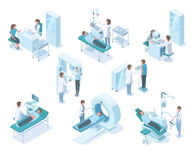 Médicos isométricos e pacientes com equipamentos de diagnóstico médico hospitalar. diagnóstico de hospital, pacientes examinados e tratados conjunto de ilustração vetorial. exame médico