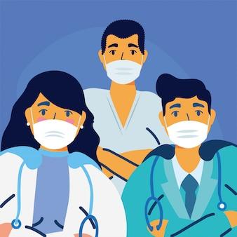 Médicos masculinos e femininos com design de uniformes e máscaras