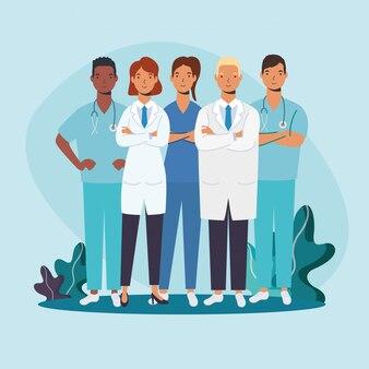 Médicos masculinos e femininos com design de uniformes