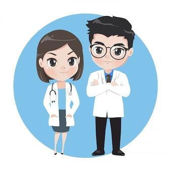 Médicos masculinos e femininos, personagens de desenhos animados.