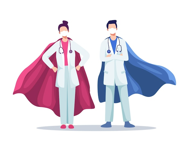 Médicos masculinos e femininos usando máscaras com mantos de super-heróis, heróis reais, surto de coronavírus. equipe médica do hospital com máscaras e estetoscópio.