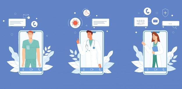 Médicos que aconselham através do conjunto de aplicativos.