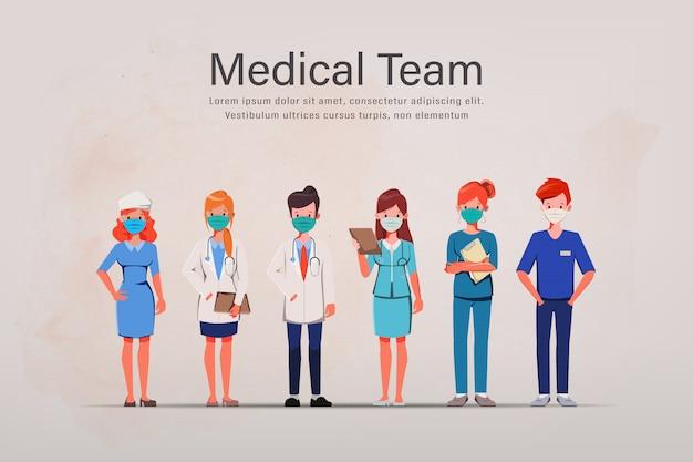 Médicos que salvam pacientes de um surto de coronavírus. lute para o conceito covid-19. salve o conceito médico.