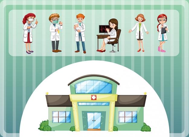 Médicos que trabalham no hospital