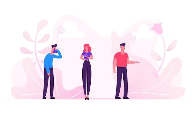 Médicos que visitam pacientes doentes com sintomas de alergia. ilustração plana dos desenhos animados