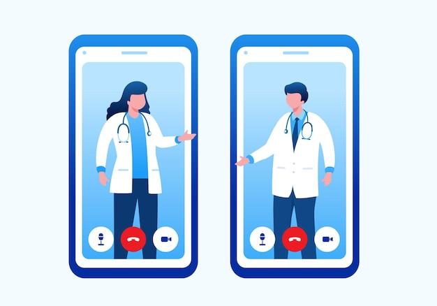 Médicos reunidos com ilustração vetorial plana de smartphone