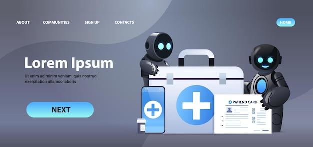Médicos robóticos com kit médico de primeiros socorros e cartão do paciente tecnologia de inteligência artificial de medicina de saúde