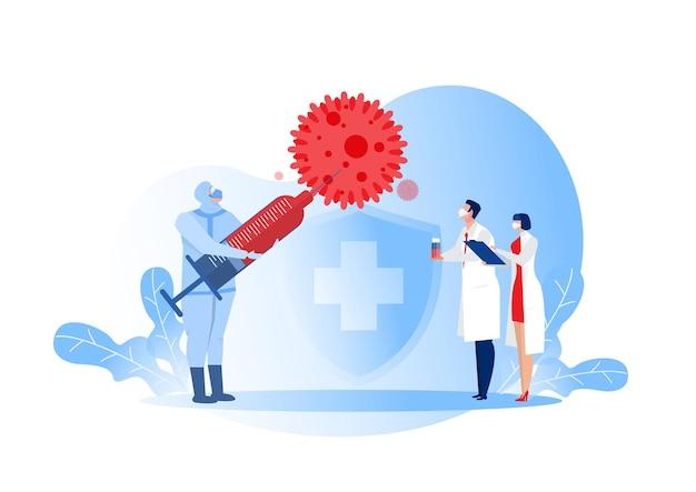 Médicos segurando uma injeção, testam a vacinação. conceito de vacinação contra influenza ou coronavírus covid-19 ou pesquisa.