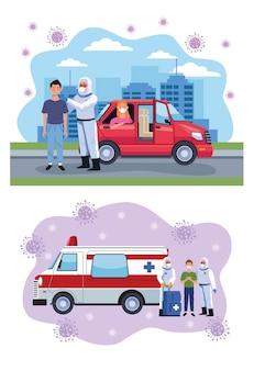 Médicos testando pessoas e ambulância