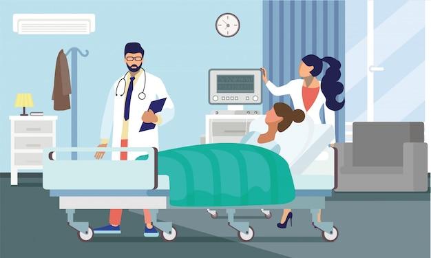 Médicos, tratar, paciente, apartamento, vetorial, ilustração