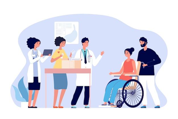 Médicos voluntários. ajuda médica humanitária, doações de medicamentos para pacientes. medicamentos do presente da equipe médica para o conceito de vetor de mulher com deficiência. apoio de ilustração e doação, caixa de caridade
