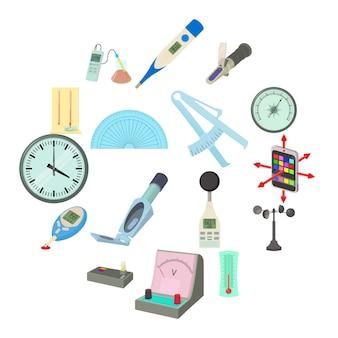Medida, ferramentas, ícones, jogo, caricatura, estilo