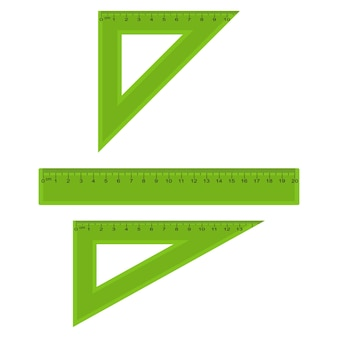 Medidas de plástico e réguas triangulares em centímetros e milímetros. ilustração vetorial.