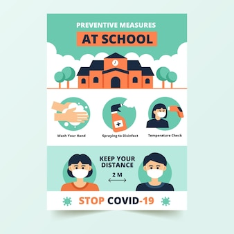 Medidas preventivas no pôster escolar