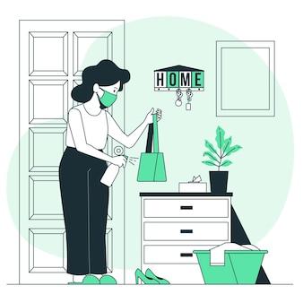 Medidas preventivas quando você chegar em casa ilustração do conceito