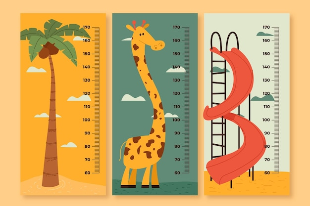 Medidor de altura de desenho bonito ilustrado