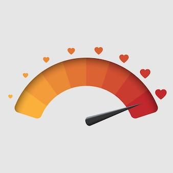 Medidor de amor, plano de fundo dia dos namorados. ilustração vetorial