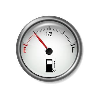 Medidor de combustível medidor branco redondo com moldura cromada