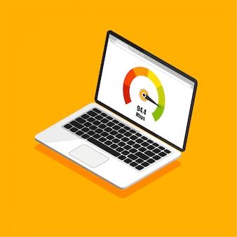Medidor de pontuação de crédito. desenho isométrico de laptop com teste de velocidade em uma tela. ilustração isolada do vetor.