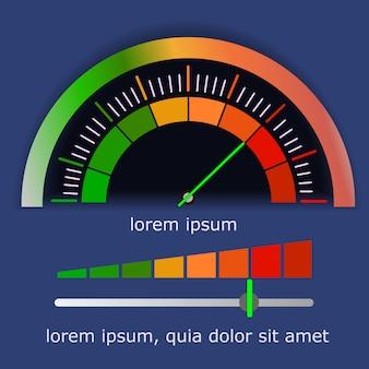 Medidores escala de verde a vermelho com seta e escala.